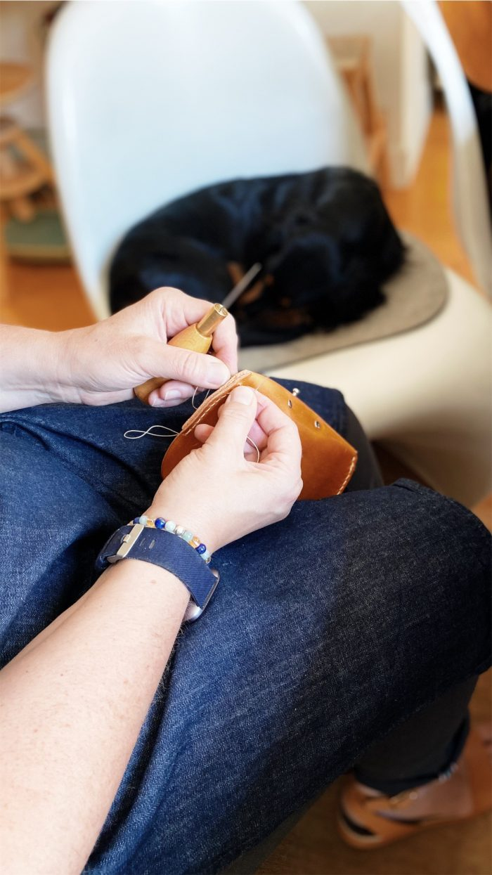 by gitte glasses case hand stitching